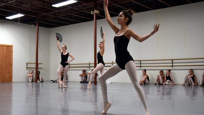 Cheyenne Cadena, Casen Collins and Mariah Hernandez rehearse together on Saturday for the Great Russian Nutcracker.