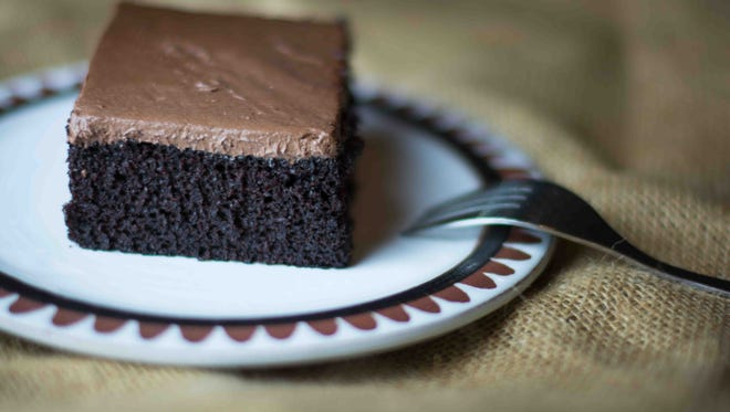 Vegan chocolate cake with chocolate frosting from the Healthy Chef Meals restaurant  in  Shreveport. Owner Jennifer Gieseke said she uses only organic, fair trade cacao