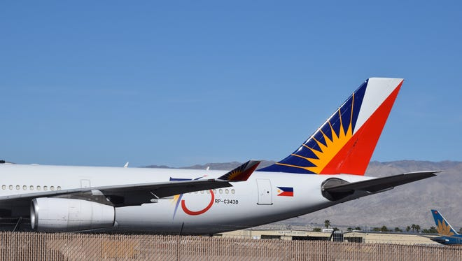 A Philippines Airlines Airbus A340 sits on the tarmac at Palm Springs International Airport on Monday, Feb. 15, 2016. The aircraft delivered Philippines President Noynoy Aquino to Palm Springs for the U.S.-ASEAN summit at Sunnylands in Rancho Mirage.
