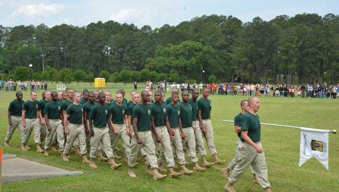 """Youth Challenge Program cadets march in formation during a """"pass in review"""" ceremony during a YCP Family Day at Camp Beauregard last year. Family Day for the current YCP class of cadets is set for Sunday at Camp Beauregard."""