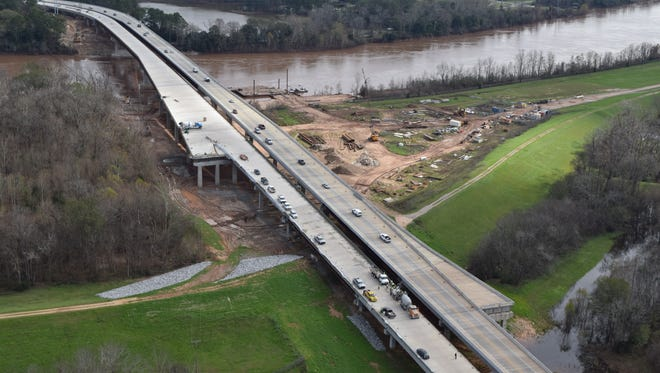 The southbound span (shown at left in this file photo)  of the Curtis-Coleman Memorial Bridge is scheduled to open to southbound traffic between noon and 3 p.m. Tuesday, weather permitting.
