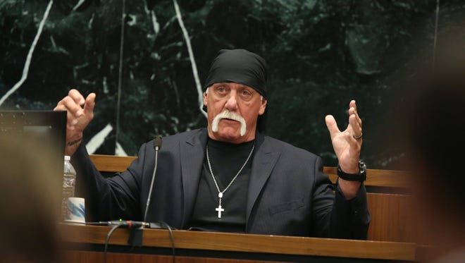 Wrestler Hulk Hogan, real name Terry Bollea, was awarded $115 million in his lawsuit against Gawker Media. Bollea alleged invasion of privacy after Gawker's publication of a sex tape he made.
