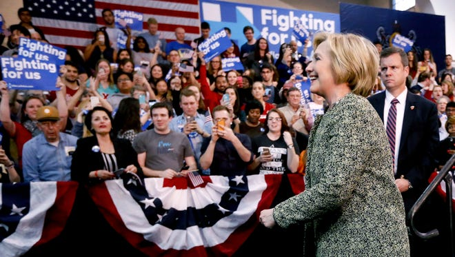 Democratic presidential candidate Hillary Clinton, right, greets supporters after speaking at Carnegie Mellon University on a campaign stop, Wednesday in Pittsburgh.