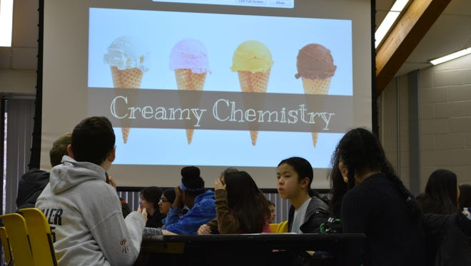 The chemistry of ice cream was one of the courses offered during the High Tech Splash.