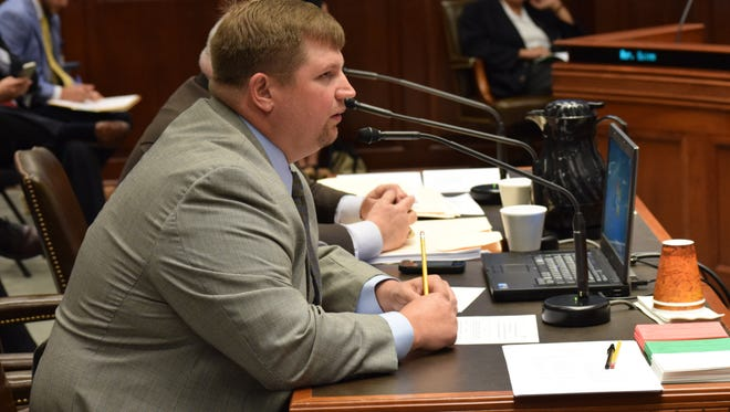 Rep. Major Thibaut, D-New Roads, discusses HB 1099 with the House Committee on Agriculture, Forestry, Aquaculture, and Rural Development. The bill would legalize and set up a system for the produciton of medical grade marijuana.