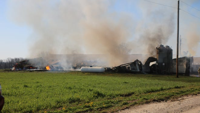 More than 300 pigs were killed Monday morning at a barn fire in Hayesville.