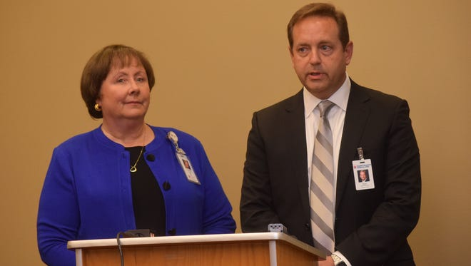 Nancy Hellyer (left), CEO of CHRISTUS Health Central Louisiana, and Randy Rogers, interim CEO of Rapides Regional Medical Center, talk about the effects of reduced or eliminated funding for their partnership with the state.