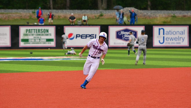 Louisiana Tech catcher Brent Diaz sprints around the bases on Thursday during his two-run inside-the-park home run.