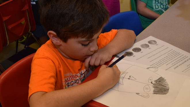 Griffin Green, 7, intently works on his drawing Tuesday during Summer Art Camp at the T.R.E.E. House Children's Museum in downtown Alexandria.