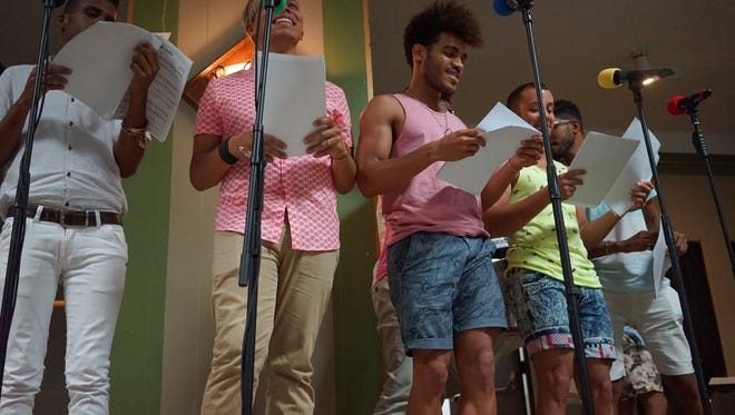Members of gay Cuban chorus Mano a Mano rehearse with the Gay Men's Chorus of Los Angeles on June 20, 2016. Both choirs have charted history in their respective LGBT communities. Mano a Mano embarked on its first U.S. tour with a kick-off performance in Los Angeles.