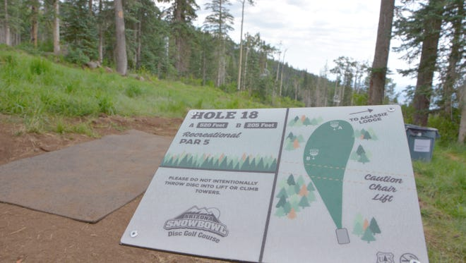 Marker for the 18th hole at disc golf course at Arizona Snowbowl near Flagstaff