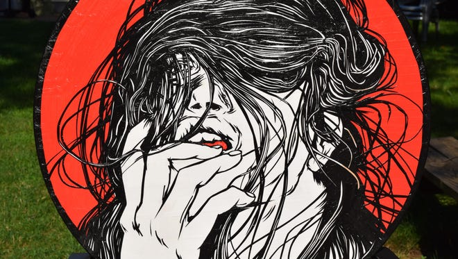 Cavaluzzi's portraits of females are a combination of illustration and tape.