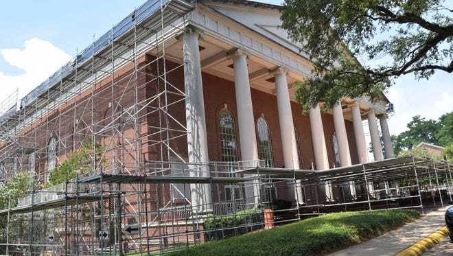 Guinn Auditorium on the Louisiana College campus is undergoing renovations.
