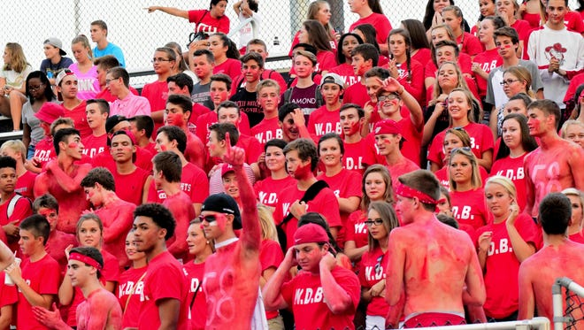 Dixie Heights fans show their spirit as they go up 21-0 at Scott, August 26, 2016.