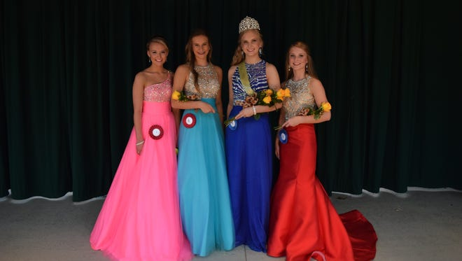 Macey Simpson was crowned Miss Teen at the Corn Festival last Thursday.  Winners from left to right: Miss Congeniality Alyssa Watson, 1st Runner-up Grace Hollaron, Miss Teen Macey Simpson, and Second Runner-up Shelby Pogue.