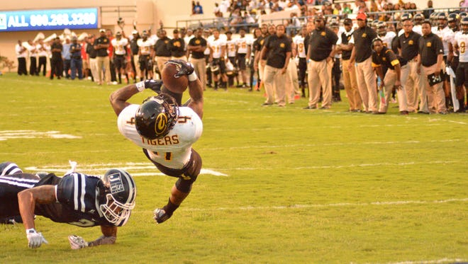 Grambling running back Martez Carter reaches over the goal line for a short touchdown in last week's win over Jackson State.