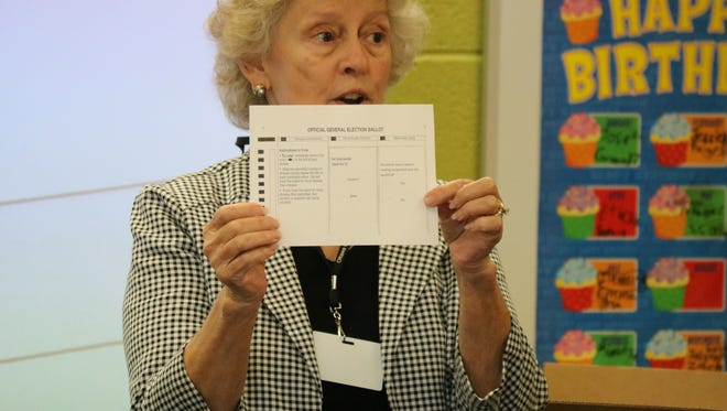 Carol Ann Hill, Ottawa County Board of Elections director, speaks to a third grade class at Bataan Intermediate about the importance of voting.