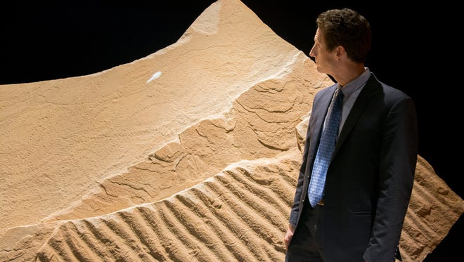 """Julian Jackson, vice president of design for the Milwaukee Public Museum, checks out 520-million-year-old fossil tracks made by one of the earliest creatures to crawl out of the water onto land - an extinct primitive arthropod. The fossil tracks are part of the museum's new """"Hidden Wisconsin"""" exhibit."""