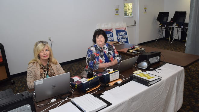 Rapides Parish Registrar of Voters Lin Stewart (right) and her chief deputy, Sandra Bonnette, prepare the new early voting site in Kees Park Community Center in Pineville. Rapides Parish voters can vote early for Nov. 8 elections at Kees Park or in the registrar's office in the courthouse beginning Tuesday.