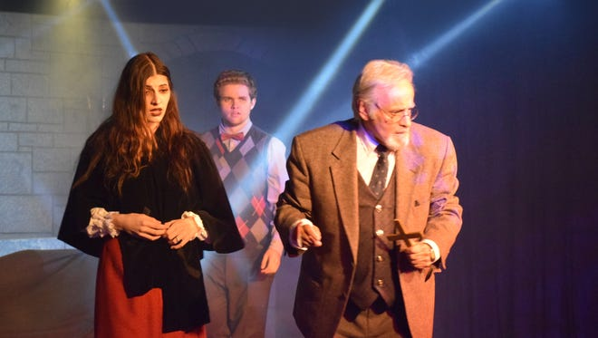 "Grace Morgan, Scott Clinkscales and Derrik Lewis star in the Hi-Desert Cultural Center production of ""Dracula: through Halloween"