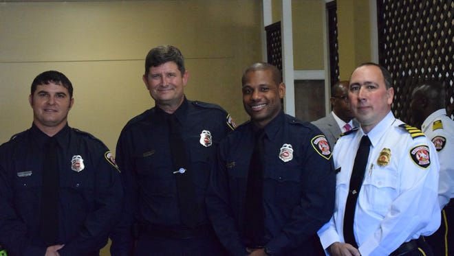 Five Hattiesburg firefighters recently received promotions. Their hard work was celebrated in a ceremony Monday at Jackie Dole Sherrill Community Center. Pictured from left are  Ricky Sheppard, Joseph Collins, Brian Duncan and Stephen Mooney.