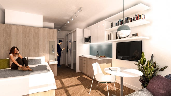 Renderings shows layout of micro loft units at the planned 28 Grand project in downtown Detroit.