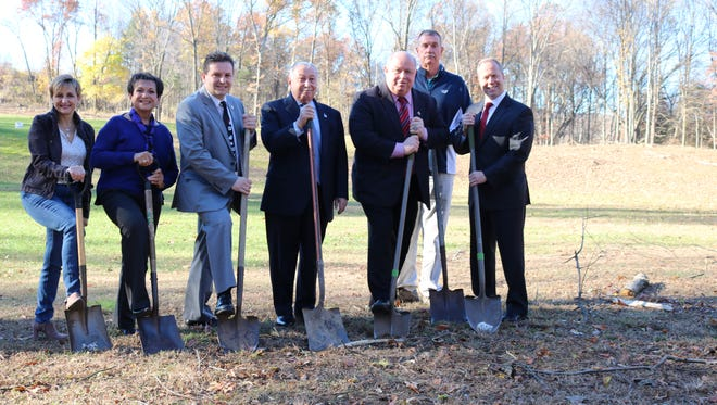 Parsippany officials attend a groundbreaking for a new driving range at the township-owned Knoll Golf Club complex.
