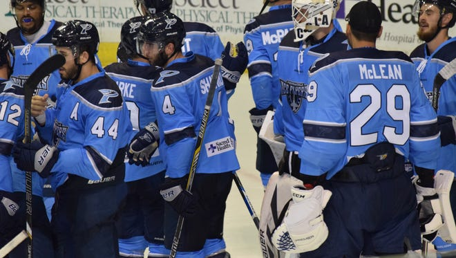 The Ice Flyers, shown in a past win against RiverKings, were able to celebrate another one Friday night  with goaltender Matt Zenzola coming up big in 2-1 win at Bay Center.
