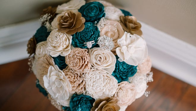 Among items used for her recent wedding, Erin Sonnier Russo used an eco-friendly bouquet.