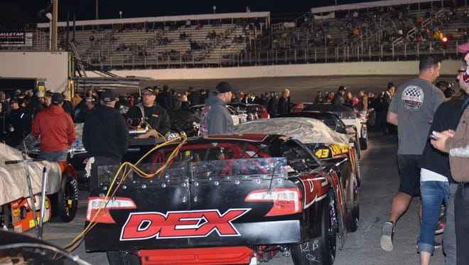 Pit row was packed Friday prior to the start of pole qualifying for the 49th Snowball Derby.