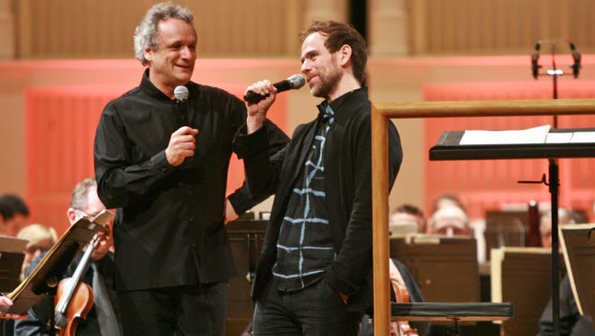 Bryce Dessner with CSO music director Louis Langrée at a previous MusicNOW Festival.
