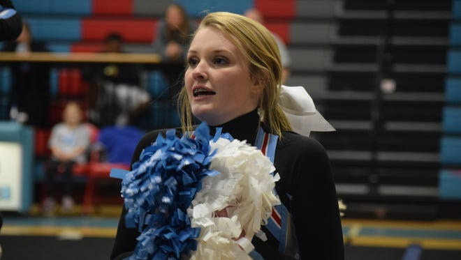 Alivia Thomas during the cheer exhibition held Thursday, December 8 at the high school.