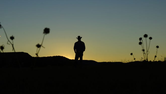 Cowboy at sunset.