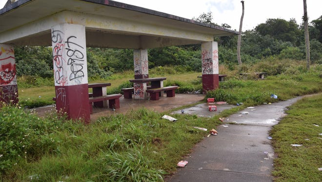 This graffiti-marked pavilion, in the Sagan Linahyan neighborhood of Dededo, could be cleaned up as part of an initiative launched by Sen. Wil Castro.