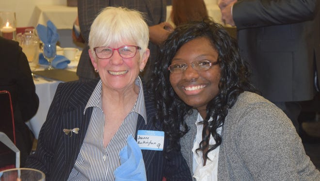 Shaniece Holmes-Brown, right, received the Lewis Atwater Award from the York City Human Relations Commission. She is pictured with York City Human Relations Commissioner Jeanne Buckingham.