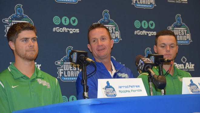 UWF baseball coach Mike Jeffcoat, along with pitcher Jarrod Petree (left) and first baseman Justin Ambrosino, shown during their preseason luncheon, had big days Sunday in a comeback win at Valdosta State that earned Jeffcoat his 400th win at UWF.
