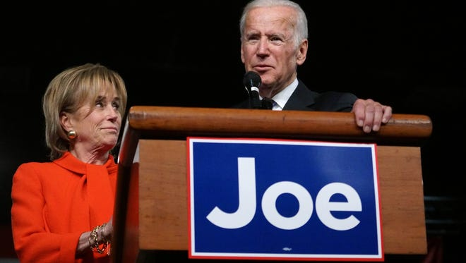 Sister Valerie Biden stands next to her brother from Vice President Joe Biden as he honored her at his welcome home to Wilmington rally on Friday after leaving office.