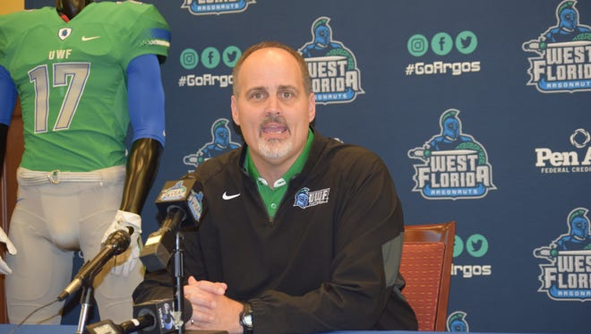UWF coach Pete Shinnick discusses his team's 2017 signing class Wednesday at the Argo Athletic Club