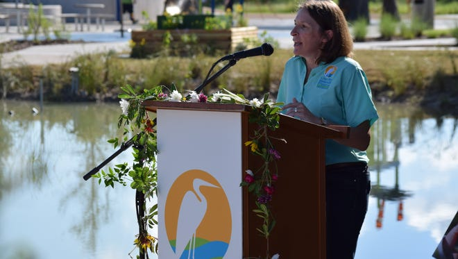 Stacie Talbert Anaya, the Corpus Christi Parks & Recreation Department's interim director, speaks at the Oso Bay Wetlands Preserve & Learning Center's ribbon cutting on June 10, 2016.