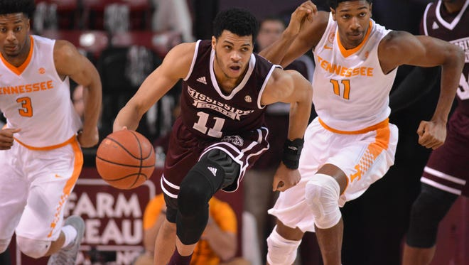 Feb 4, 2017; Starkville, MS, USA; Mississippi State Bulldogs guard Quinndary Weatherspoon (11) drives down he court during the second half of the game against the Tennessee Volunteers at Humphrey Coliseum. Mississippi State won 64-59.  Mandatory Credit: Matt Bush-USA TODAY Sports