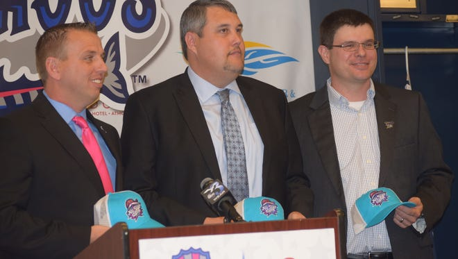 Pensacola Blue Wahoos president Jonathan Girffith (left) is joined by Tim Ramer, Wind Creek-Atmore property manager (center) and Pensacola's Randall Wells, a member of Blue Wahoos board of trustees, during a news conference Tuesday to detail plans for the Southern League All-Star Game and events June 19-20 at Blue Wahoos Stadium.