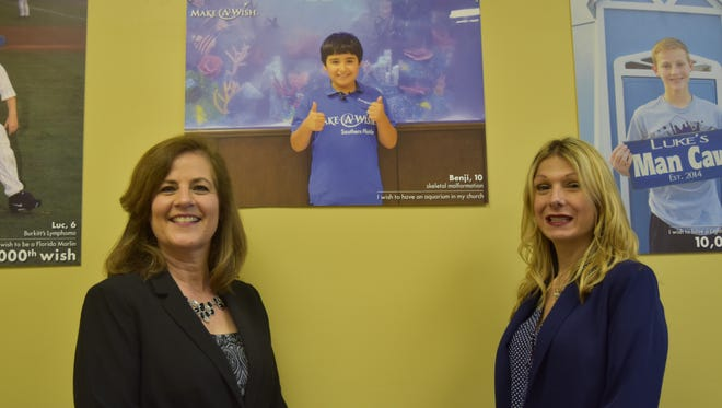 Make-A-Wish volunteers Dorothy Blasingim, left, and Tammy Teece inside the Make-A-Wish Southern Florida Bonita Springs office.