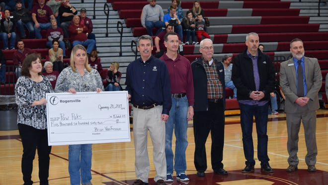Pictured from left are: Annie Lee, Tammy Fitzpatrick, director of health services for Logan-Rogersville Schools, Brian VanFosson, Michael Hendrickson, Greg James, Chuck Medley and Dr. Shawn Randles.