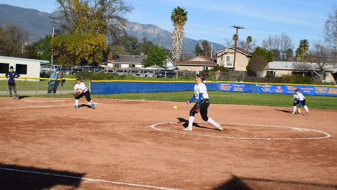 Nordhoff's Sidney Wimpee tosses a pitch during her six-inning perfect game against visiting Villanova Prep on Tuesday.