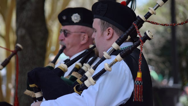Bagpipers play during a previous St. Patrick's Festival in Kleman's Plaza.