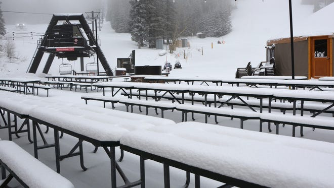 Scene at Arizona Snowbowl on Friday, March 31 after receiving four inches of snow on top of more than 300 inches in the 2016-17 season. The ski resort will stay open weekends through April 30, 2017.