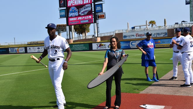 Highly-touted outfielder Aristides Aquino, has some fun for his photo shoot Tuesday at the Pensacola Blue Wahoos first workout at Blue Wahoos Stadium.