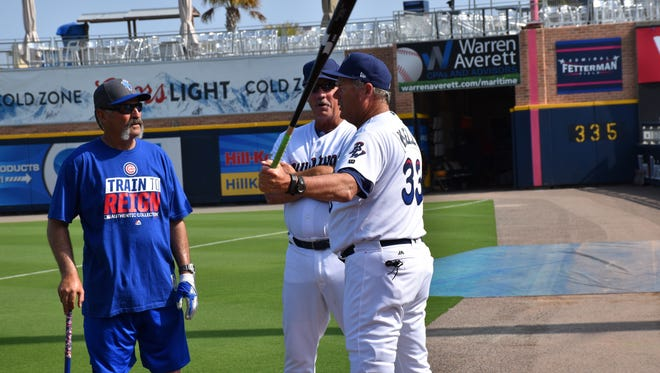 Blue Wahoos manager Pat Kelly (33) and his pitching coach Danny Darwin, shown before the season-opener in April, were named Monday to head the South All-Stars coaching staff for the June 20 Southern League All-Star Game at Blue Wahoos Stadium.