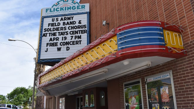 """The Flickinger Center for the Performing Arts has entered the """"A Community Thrives"""" contest, hoping to win a $100K grant from USA Today in order to restore their 60 year old marquee."""