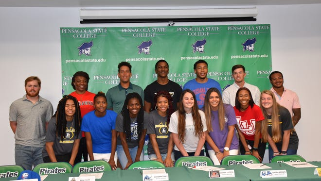There were 15 athletes at Pensacola State College from four sports (8 women, 7 men) who signed scholarships Thursday to advance their athletic and education careers at 4-year  universities.